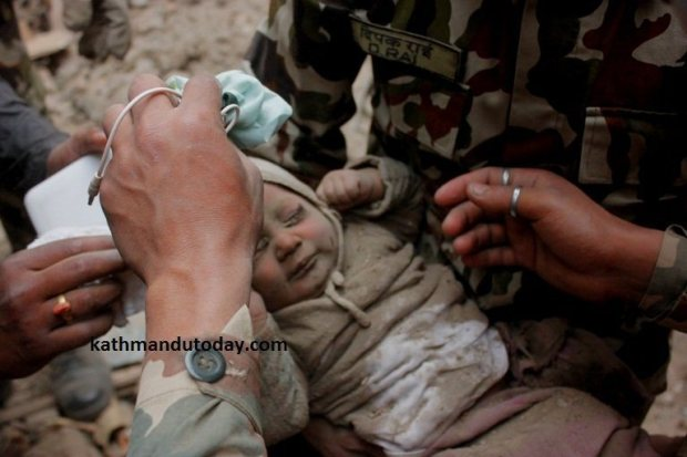 An infant's cry heard from the rubble